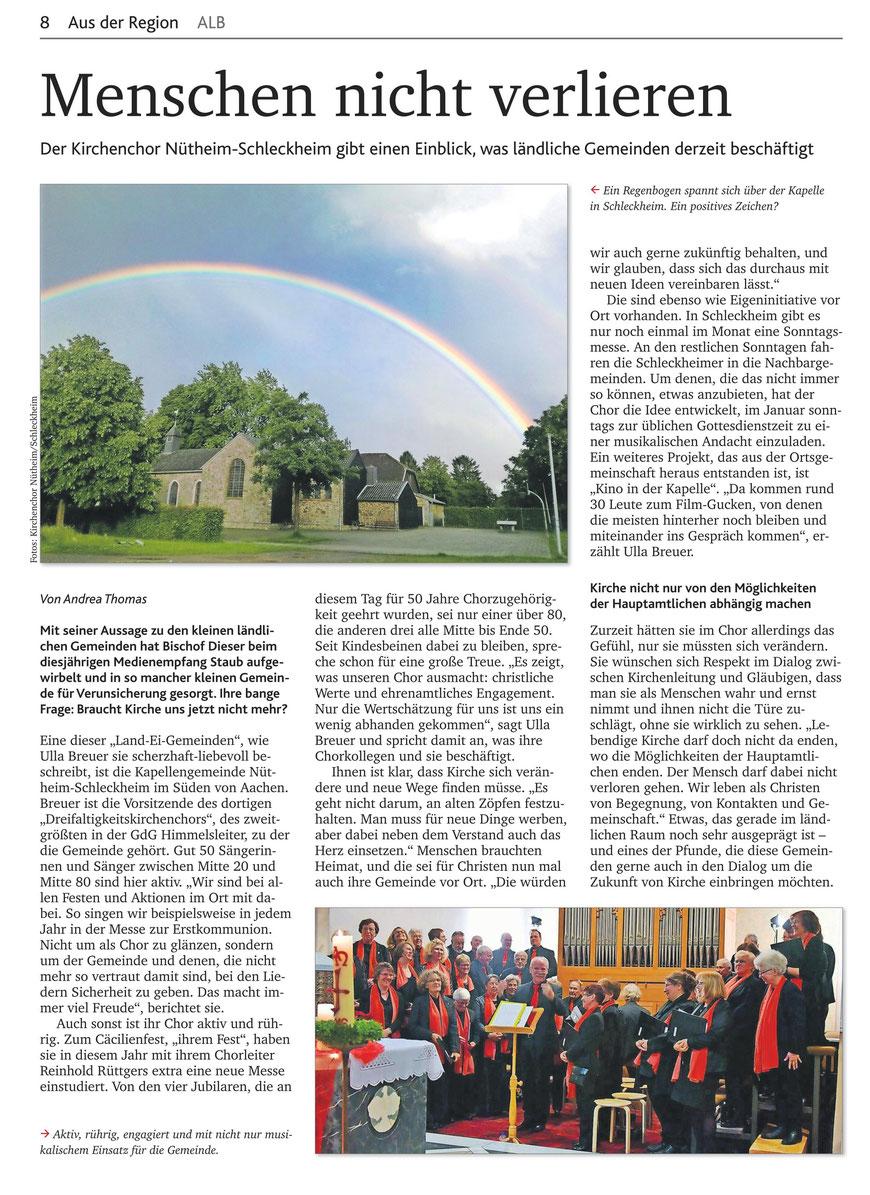 Artikel Kirchenzeitung 49-2017 Menschen nicht verlieren