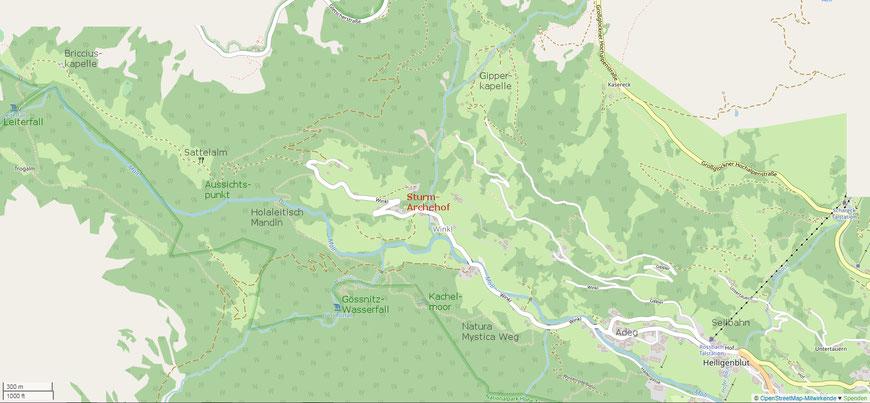 Karte  der näheren Umgebung des Sturm-Archehofs