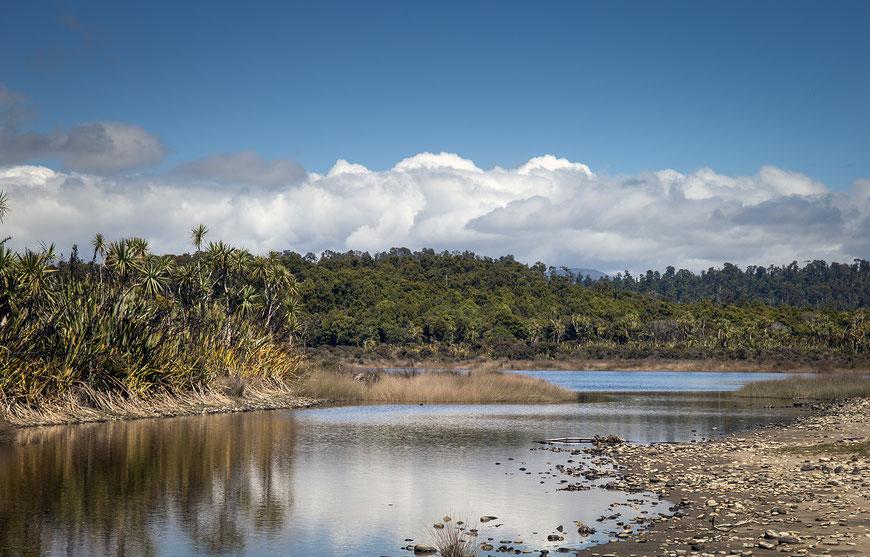 "Blick auf die ""Three Mile Lagoon""."
