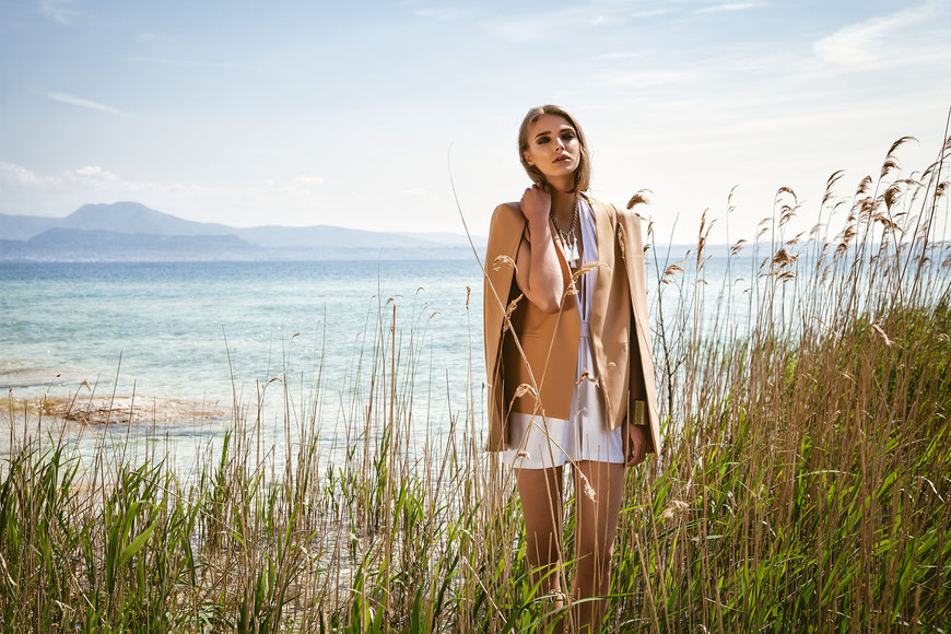 Fashion photography, a woman in front of the lake by Monica Monimix Antonelli