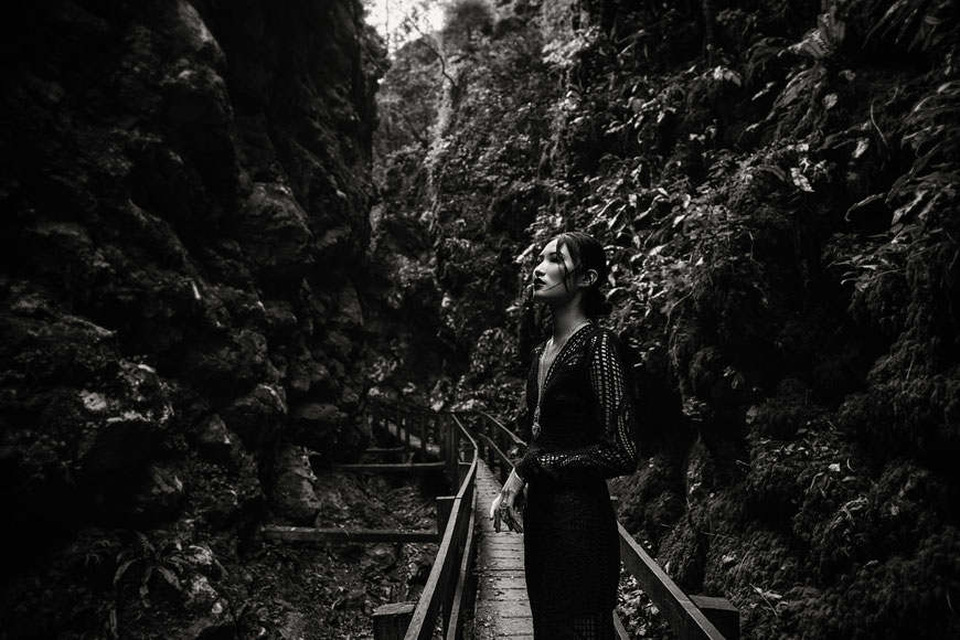 Fashion photography, a woman among the rocks by Monica Monimix Antonelli