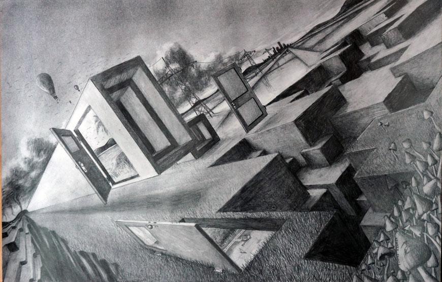 Zeichnung - Bleistift Kohle A2