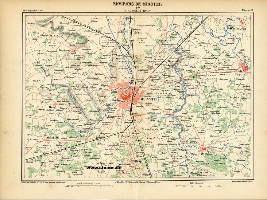 Münster und der nähere Umkreis - Französische Karte von 1885