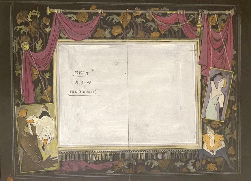 Orpheus in der Unterwelt - Pastellskizze des Bühnenbildes