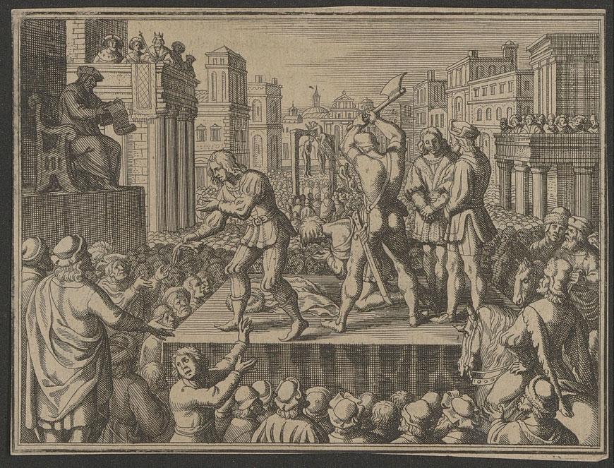 Öffentliche Hinrichtung in einer Stadt  - ULB Münster - Sammlung Haxthausen 13,292