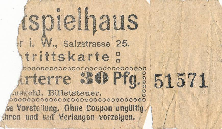 1912: Eintrittsbillet Lichtspielhaus Salzstraße