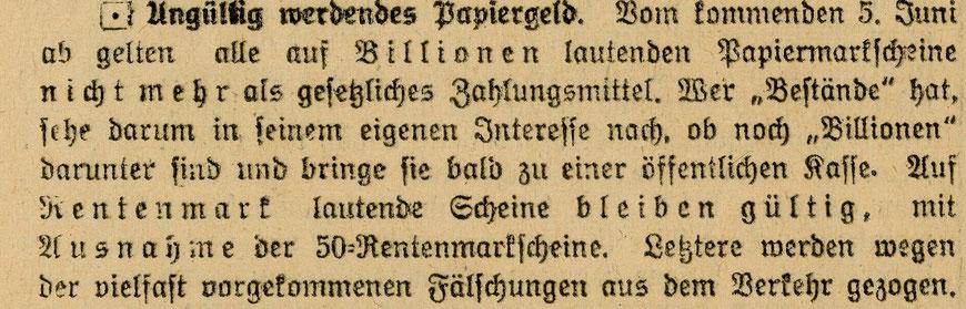 Zeitungsnotiz vom 16.5.1925
