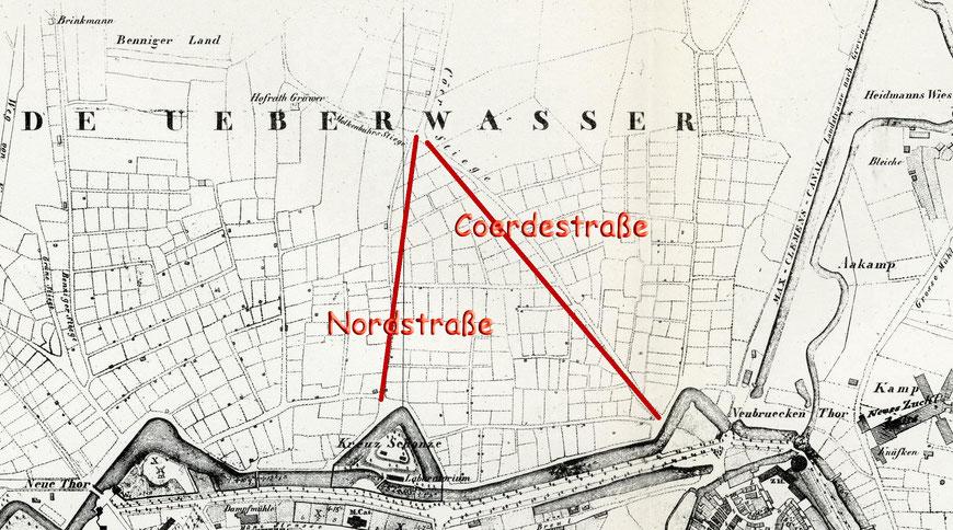 Das Gebiet des künftigen Kreuzviertels um 1840