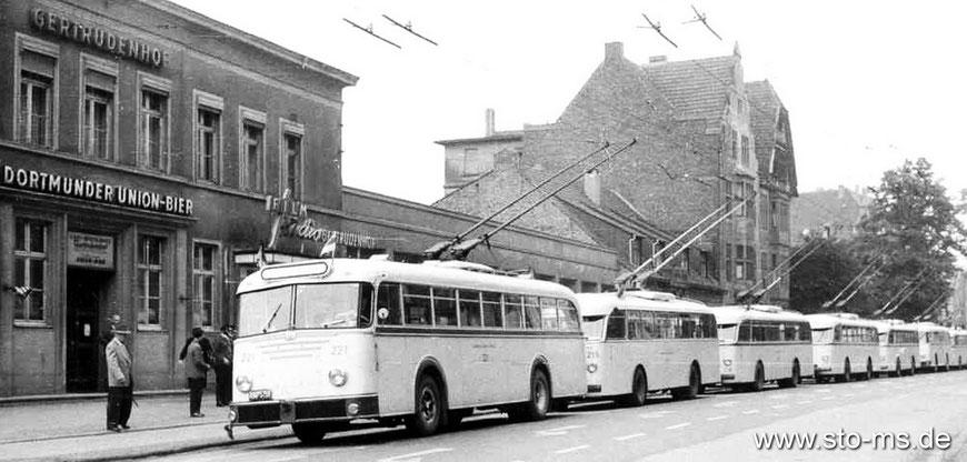 O-Busse vor dem Gertrudenhof an der Warendorfer Straße