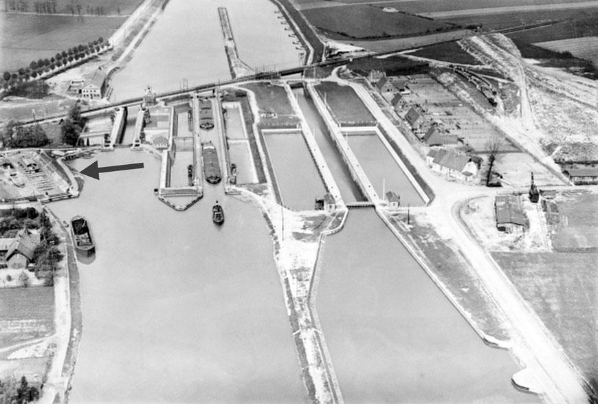 Die Schleuse um 1925 - oben links das Trockendock - © LWL-Medienzentrum für Westfalen