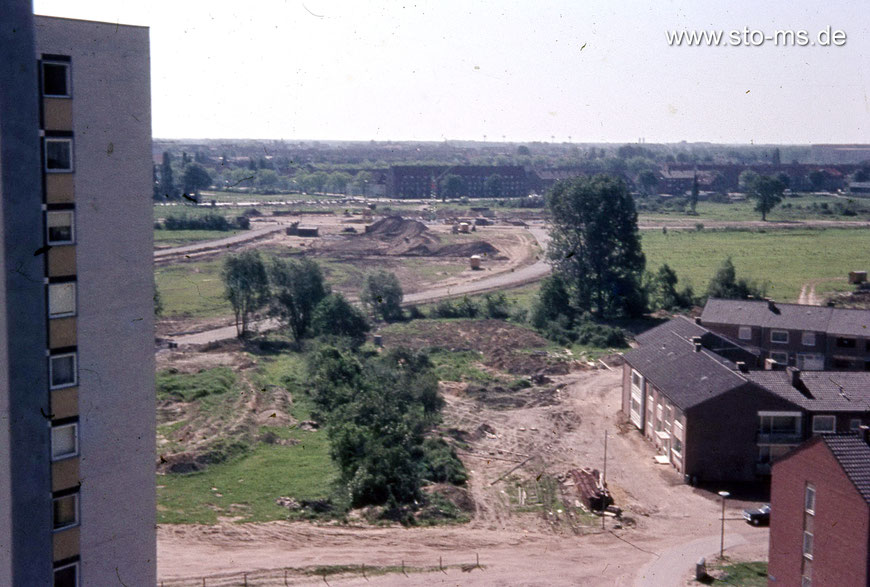 Blick von einem der Aasee-Hochhäuser Richtung Weseler Straße