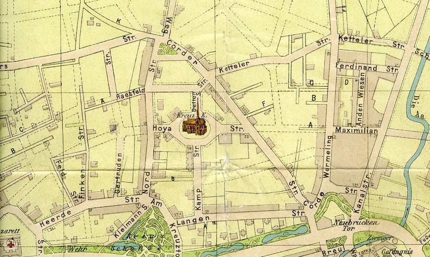 Das Kreuzviertel 1905 - Die Kreuzkirche noch ohne Turm