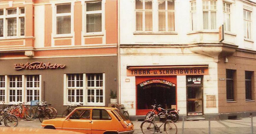 Der Nordstern mit dem Tabak- und Schreibwarenladen Mitte der 1970er Jahre