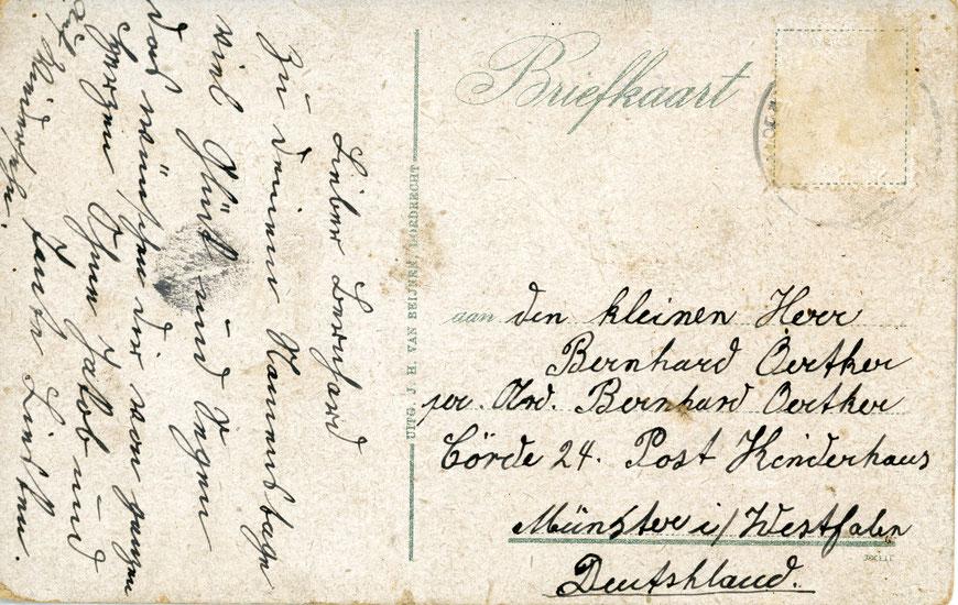 Postkarte an den Sohn Bernhard -  um 1925