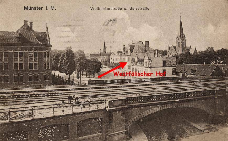 Das Hotel von der Wolbecker Straße Richtung Salzstraße, links die Reichsbahndirektion
