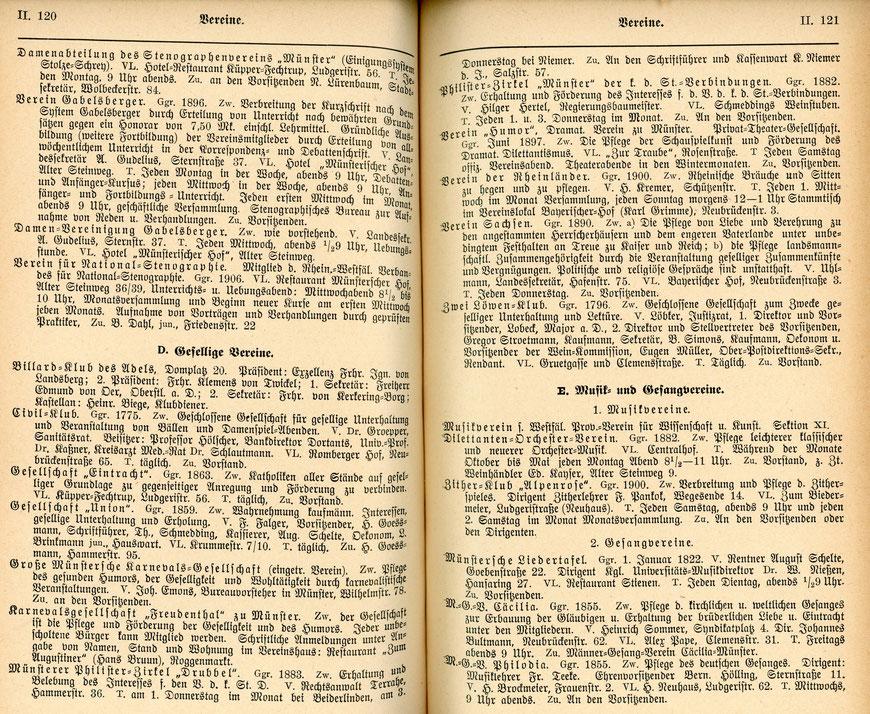 Das Einwohnerbuch von 1909 führt allein auf sieben Seiten die verschiedenen Vereine auf.