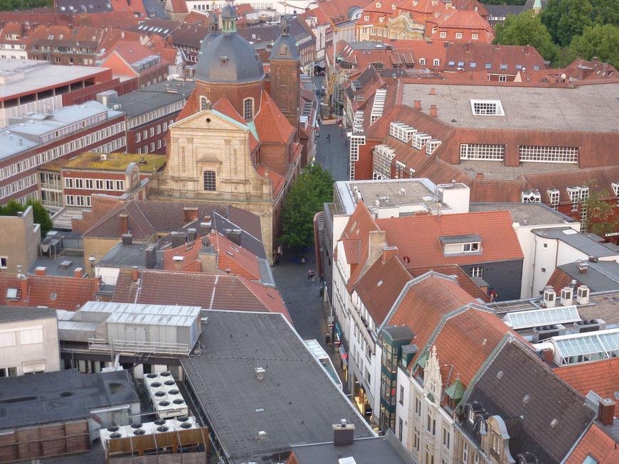 Blick vom Lamberti-Kirchturm auf die Salzstraße