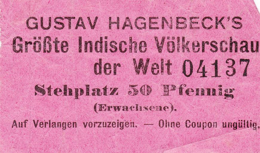 Um 1910: Eintrittskarte zu einer ,Völkerschau'. Diese Art von Veranstaltungen wurde damals als nicht anstößig empfunden.