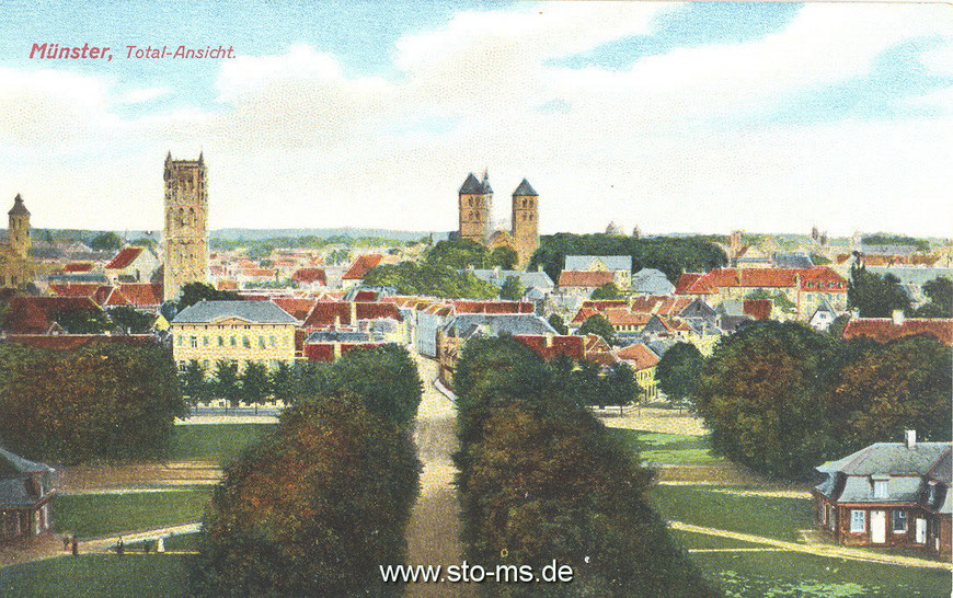 Handkolorierte Ansichtskarte. Die Ulmenallee im Vordergrund wurde im Zusammenhang mit der Aufstellung des Kaiser-Wilhelm-Denkmals Ende des 18. Jahrhunderts entfernt.