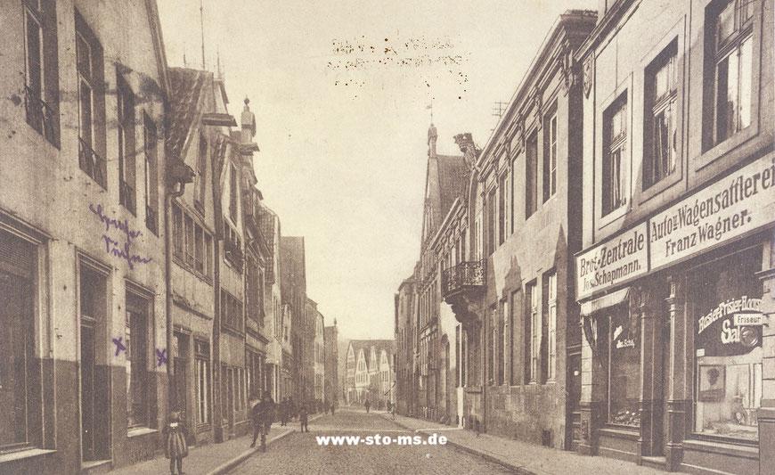 Die Aegidiistraße stadtauswärts um 1910 - Rechts der Landsberger Hof (mit Balkon)