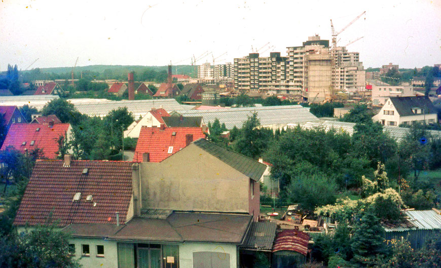 Vom Burloh auf Großbaustelle ,Schleife' - Bildmitte Gewächshäuser der Gärtnerei Moldrickx