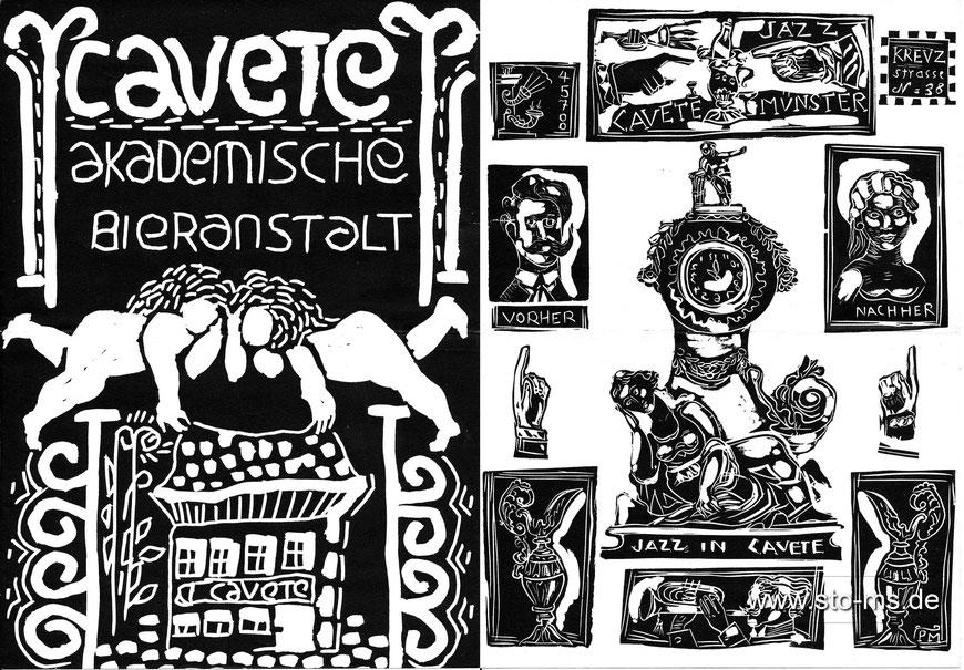 Speise- und Getränkekarte der Cavete um 1960 - Grafik Paul Mersmann