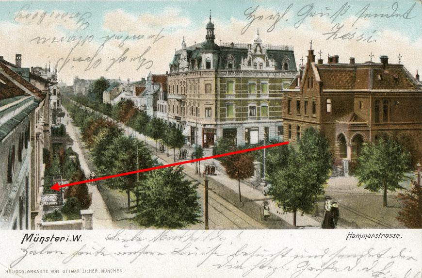 Schräg gegenüber der Josephskirche (Vorläuferbau) lag die Gaststätte Cords - handkolorierte Ansichtskarte um 1902, Sammlung Henning Stoffers