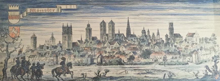 Stadtansicht, handkoloriert - Besitz Henning Stoffers