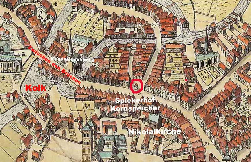 Ausschnitt aus dem Alerdinck-Plan von 1636
