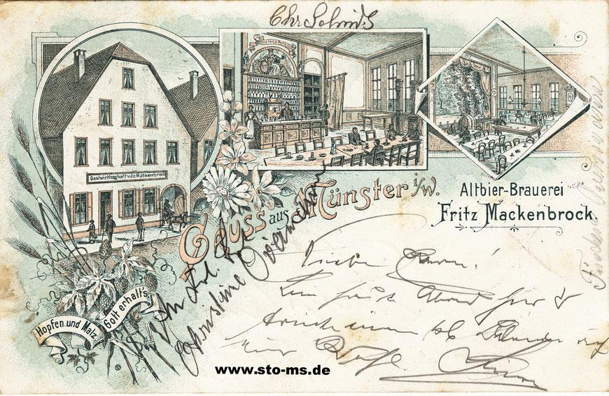 Altbierbrauerei Mackenbrock Aegidiistraße 47 - Ansichtskarte um 1900