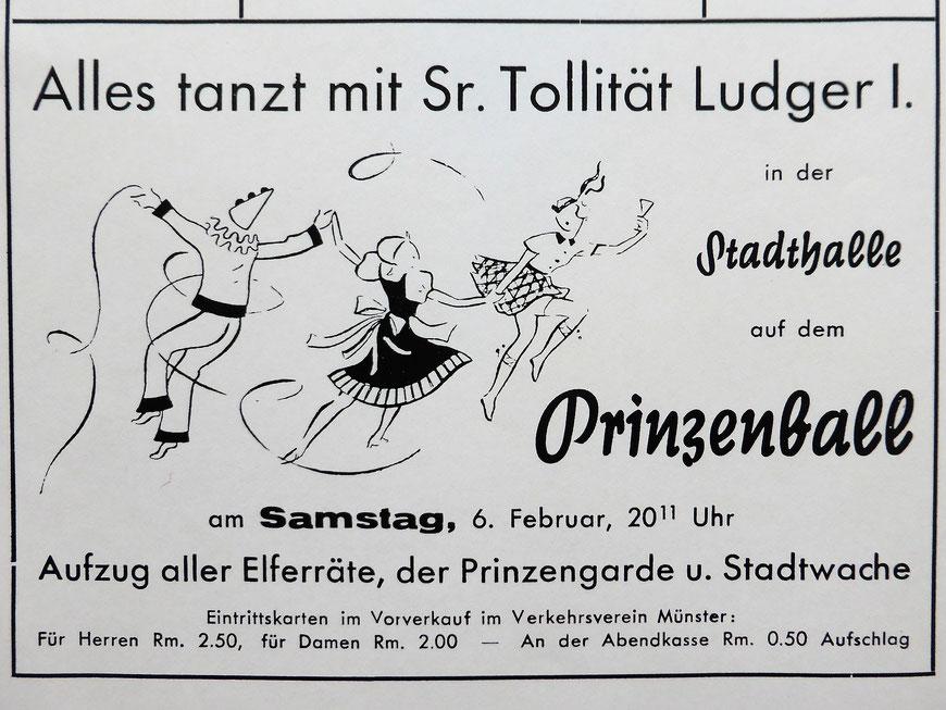 Anzeige Prinzenball 1939