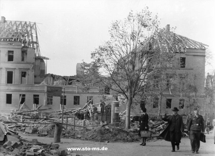 Die zerstörte Aegidiikaserne im Oktober 1943 - Foto Carl Pohlschmidt ULB Münster