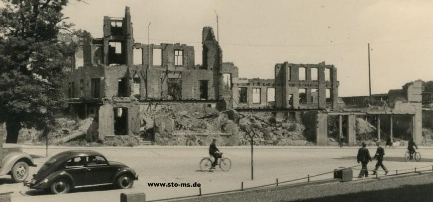 Das zerstörte Geäude an der Wolbecker Straße