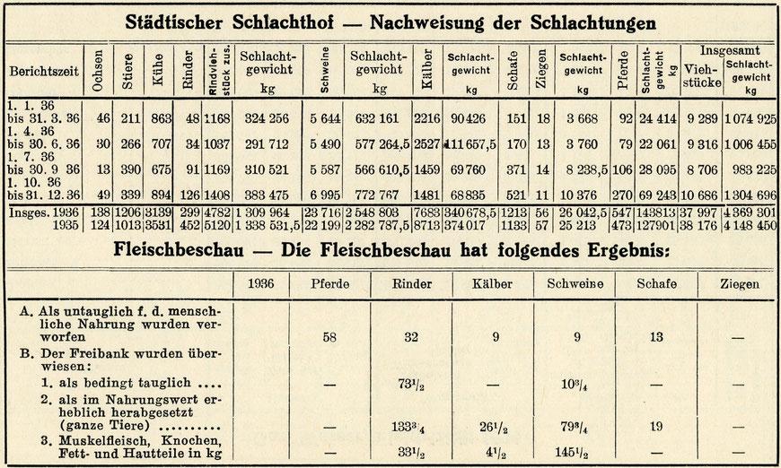 Statistik: Schlachtungen 1936 im Schlachthof Münster