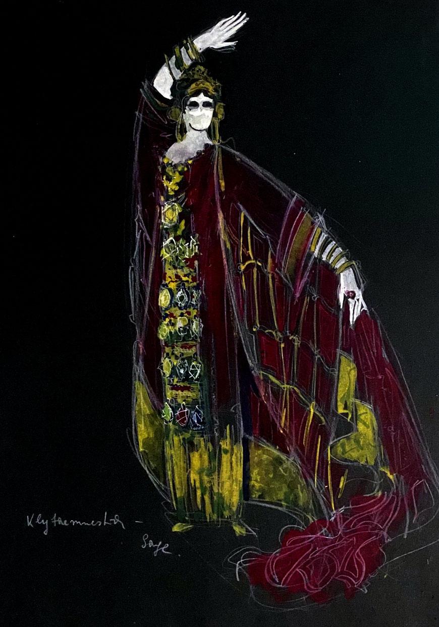 Klytaimnestra - Gestalt der griechischen Mythologie - Pastellskizze