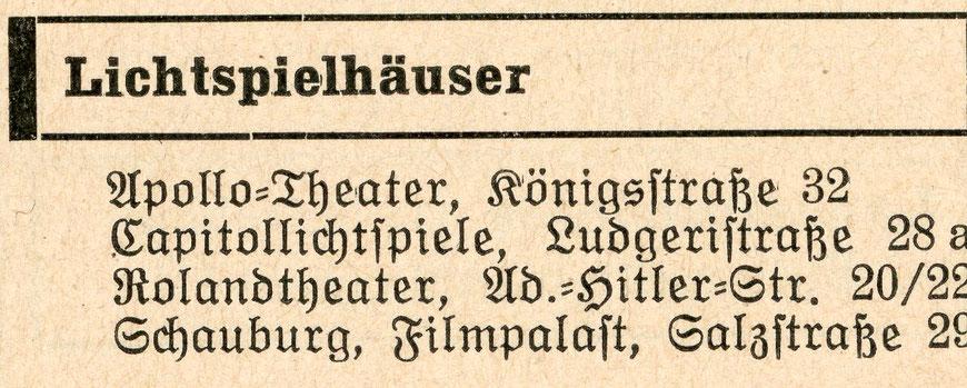 Münsters vier großen Kinos - Einwohnerbuch 1939