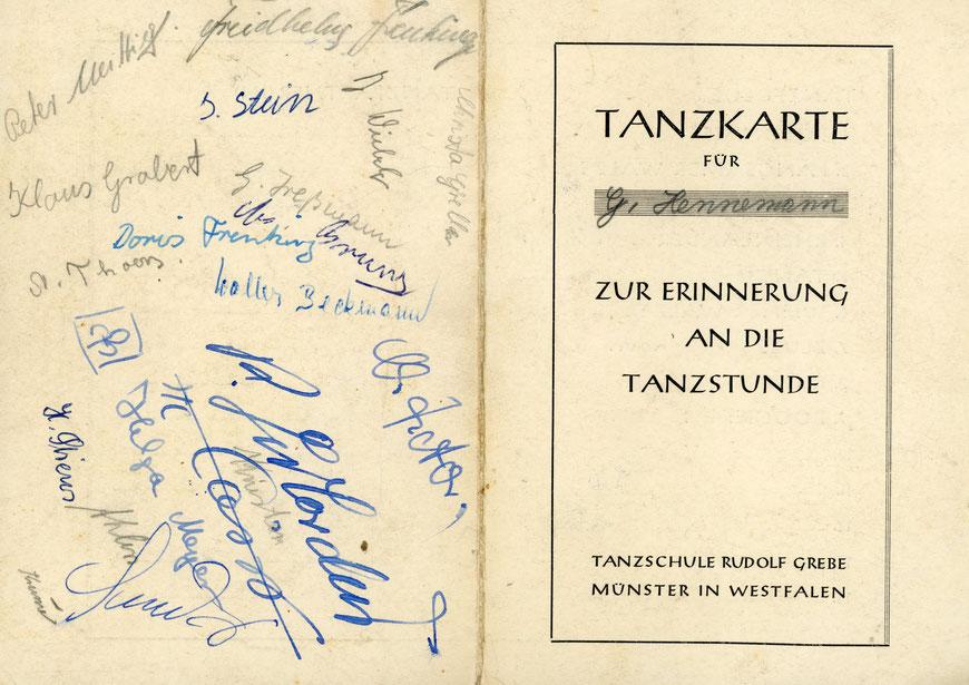 Und so sah die Tanzkarte der Tanzschule Rudolf Grebe aus...