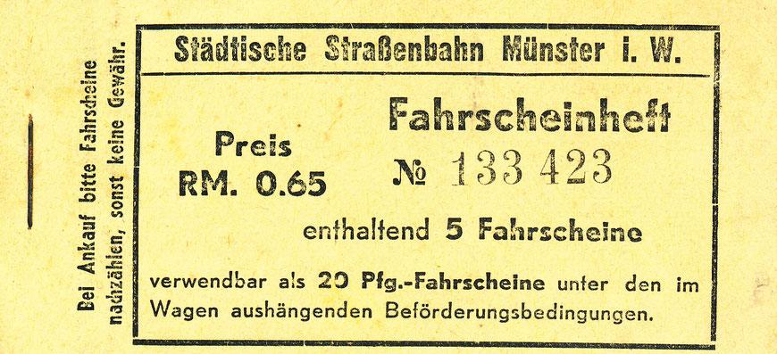 Beim Kauf eines Fahrscheinheftes für 0,65 Reichsmark gibt es 35 % Rabatt! - Sammlung Henning Stoffers