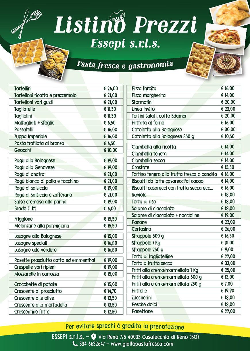 Giallo pasta  fresca prezzi