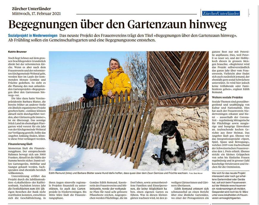 Artikel in der Zürcher Unterländer Zeitung am 17. Februar 2021