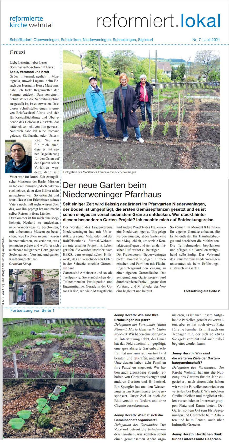 Artikel in der Zürcher Reformiert.lokal Zeitschrift in Juli 2021