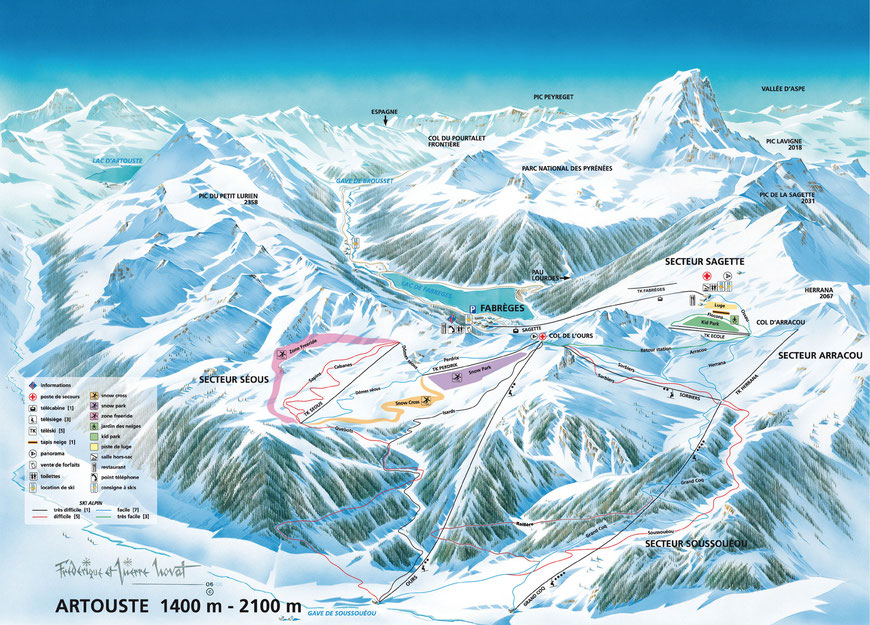 plan des pistes Artouste station de ski