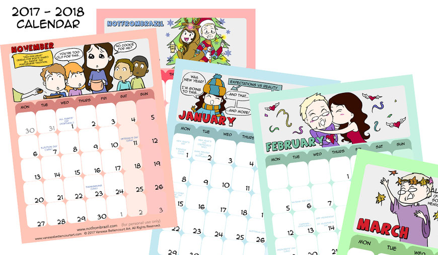 free calendar, calendar, graphic novel, comics, notfrombrazil