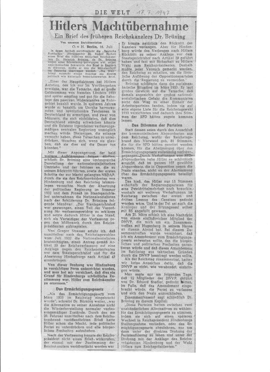 """Zu Gedanken Brünings über die Hitlersche """"Machtergreifung"""", Die Welt  vom 17.7. 1947          (Archiv Ulrich Warnecke)"""