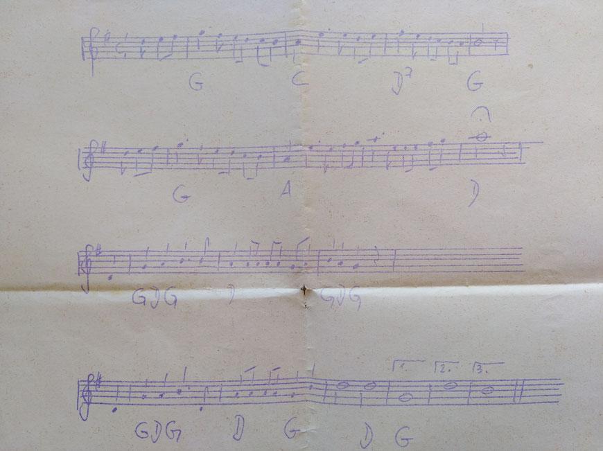 Farbenlied 1969, Melodie und Noten von Con-Abiturient Wulf-Dieter Alsen (Originalblatt)