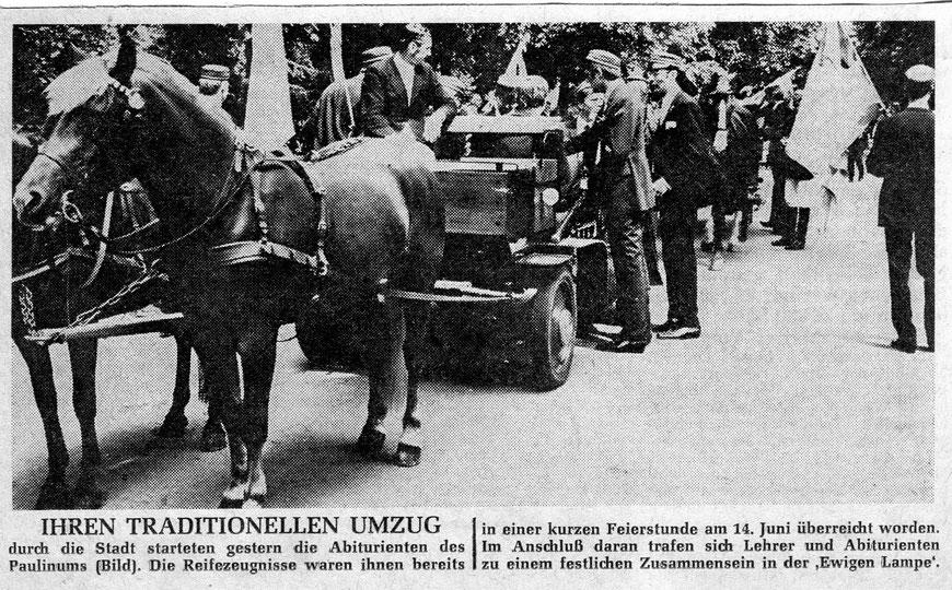 """Aus den """"Westfälischen Nachrichten"""" vom 19. Juni 1969"""