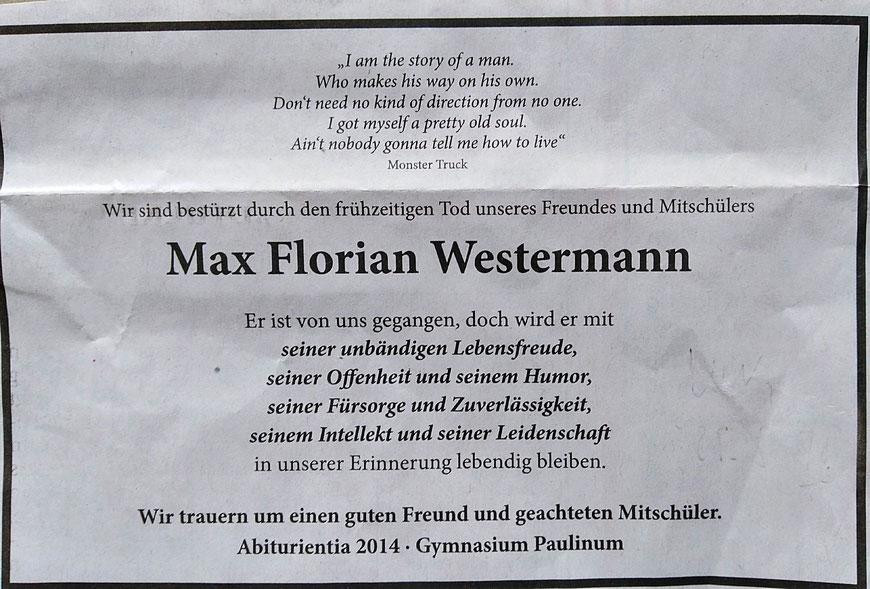 Anzeige der Abiturientia Paulina 2014 in den Westfälischen Nachrichten vom 25. Mai 2018