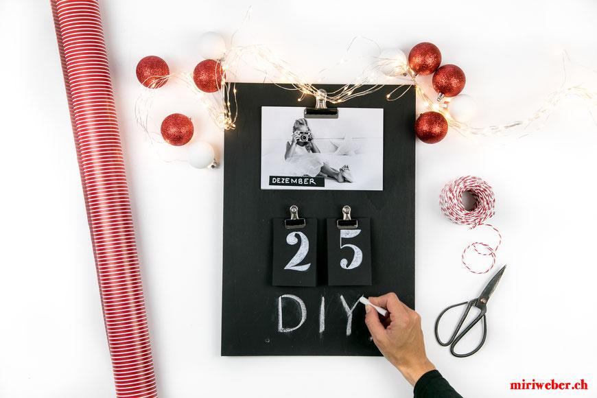 Geschenk Idee, Geschenk basteln, Weihnachtsgeschenk, selber machen, Chalkboard, Jahreskalender, Foto, Kalender, DIY, kreativ, Kreativ Blog Schweiz, Content Creator Schweiz, Creative Content