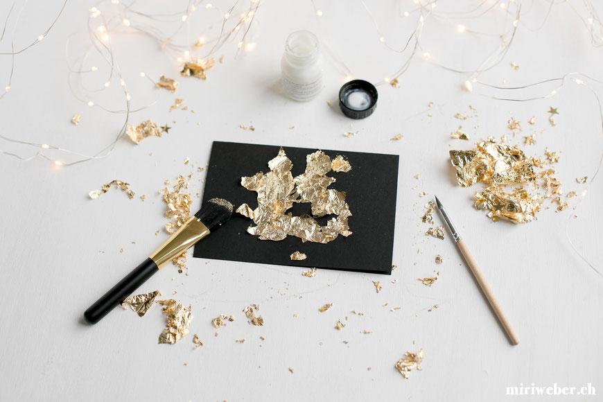 diy, karte, gold, effekt, lettering, blattgold, anlegemilch, anleitung, idee, kreativ, metall effekt, gold effekt, advent, weihnacht, basteln, decor