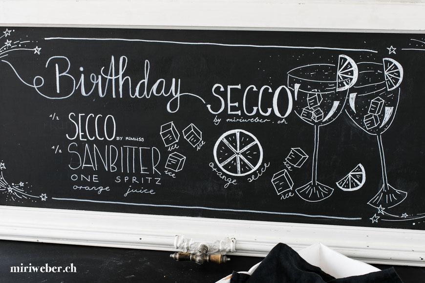 Chalkboard, Sommer, Kreidetafel, Black Board, Rezept, Sommer, Drink, alkoholfrei, ohne Alkohol, erfrischend, Secco by Rimuss, Foodblog Schweiz, Schweizer Food Blog, Aperol, Party Drink